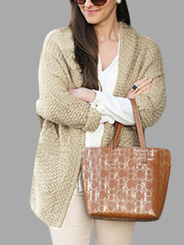 Beige Fashion Two Pockets Loose Cardigan