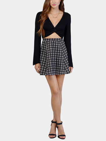 Black Twist Front Crop Top with Bell Sleeve