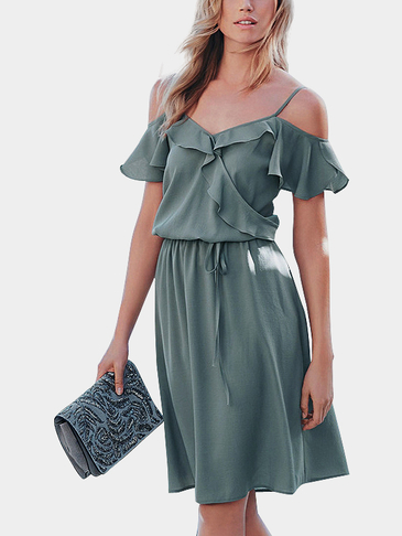Blue-grey Cold Shoulder Ruffled Details Elastic Waistband Cami Dress
