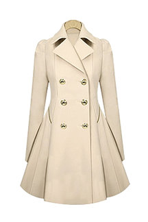 Beige Lapel Collar A-line Hem Coat