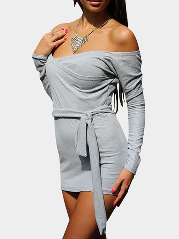 Off Shoulder Bodycon Dress with Self-tie Design