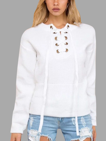 White Knitting Lace-up Long Sleeves Knitwear