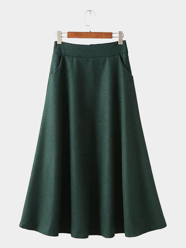 Green Woolen Skirt with Pocket