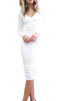 Back Lace-up Midi Dress in White
