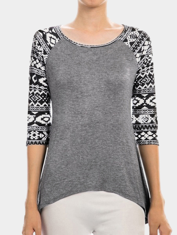 Dark Grey Fashion Round Neck T-shirt In Digital Pattern
