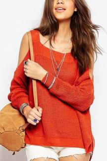 Dark Orange Cold Shoulder Irregular Hem Split Sweater
