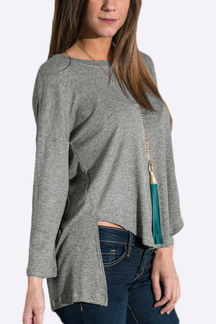 Dip Back Long Sleeve Top
