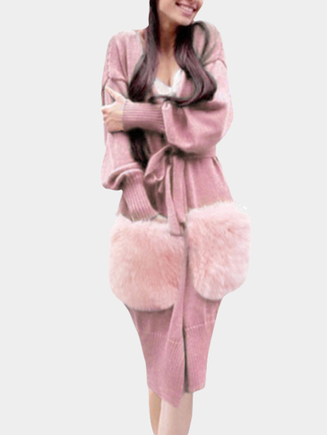 Pink Long Sleeves Long Length Cardigan with Pockets