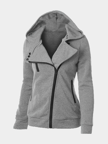 Light Grey Casual Hoodie With Irregular Zipper