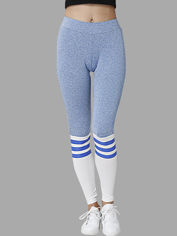 Blue Causal Bodycon Leggings