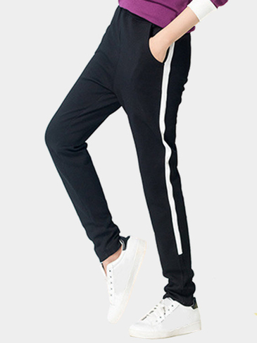 Black Fashion Two Side Pockets Sport Trousers