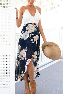 Wrap Front Floral Print Maxi Dress with Lace Details