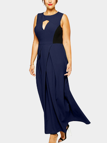 Plus Size Navy Cut Out Maxi Dress