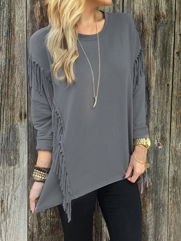 Grey Round Neck Long Sleeves Irregular Hem Top with Tassel Details
