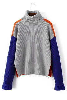Grey High Neck Thicken Long Sleeves Jumper