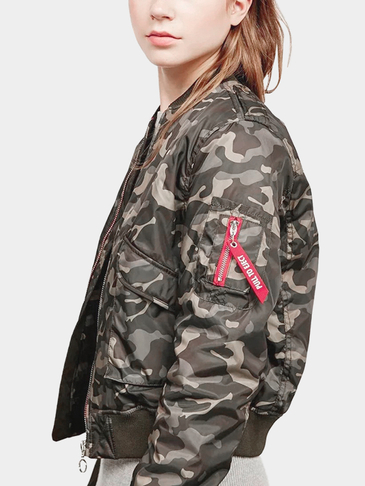 Camouflage Pattern Zipper Design Quilted Jacket with Inner Pocket