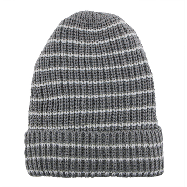Grey Stripe Knit Beanie Hat