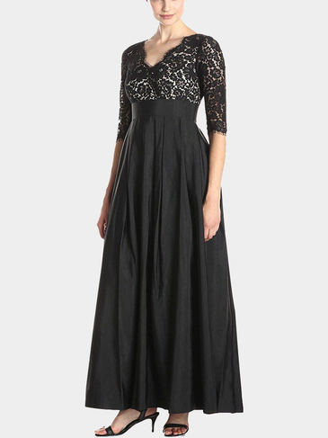 Plus Size Black Lace Maxi Party Dress