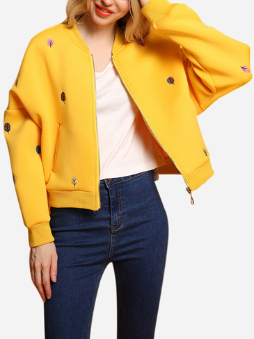 Yellow Fashion Embroidery Pattern Zipper Front Fastening Bomber Jacket