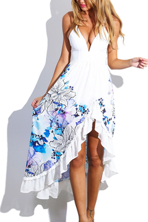 White Floral Ruffled Flamenco Cocktail Maxi Dress