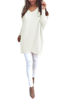 White Casual Loose  Long Sleeves V-neck Sweater