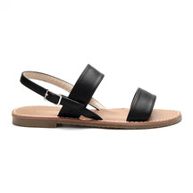 Black Leather look Pin Buckle Strap Simple Flat Sandals