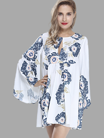 Floral Print Mini Dress with Bell Sleeves