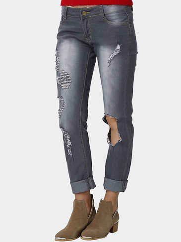 Grey High-waist Skinny Pencil Ripped Jeans