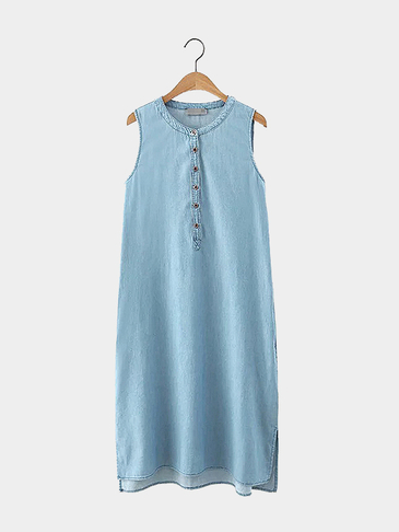 Sleeveless Side Split Denim Midi Dress