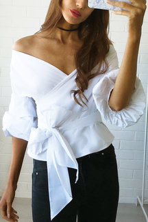 Crossed Front Straps Details Blouse in White