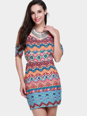 Cold Shoulder Multicolor Wave Print Mini Dress