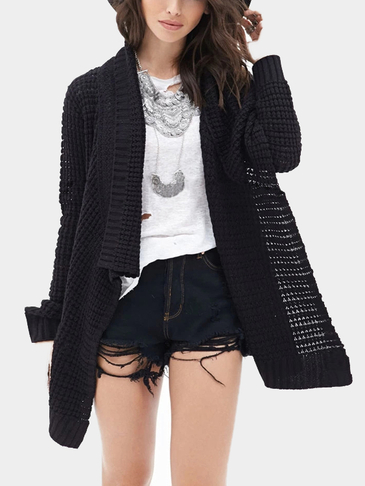 Black Loose Hollow Out Irregular Hem Knit Cardigan