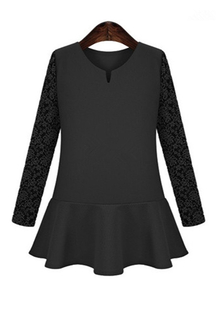 Plus Size Lace Sleeve Mini Dress In Black