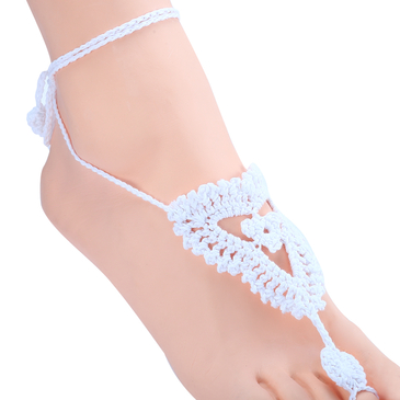 Fashion White Hollow Out Details Anklets