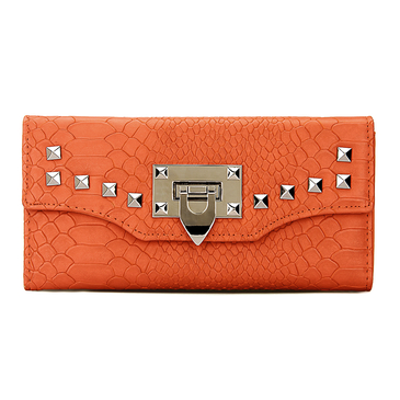 Leather-look Snake Effect Studded Long Purse in Orange