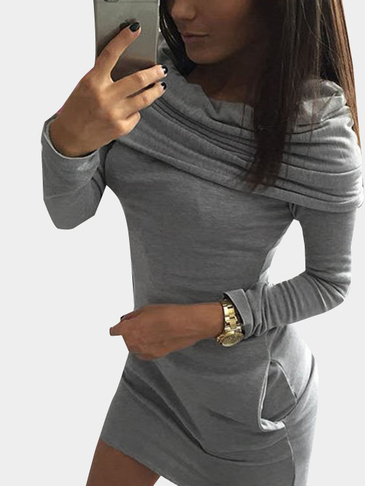 Grey Fashion Mini Dress With Ruffled Over-layer