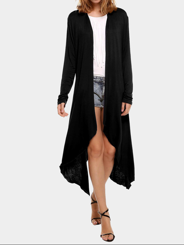 Black Waterfall Longline Jersey Cardigan