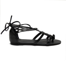 Black Leather Look Lace-up Gladiator Flat Sandals