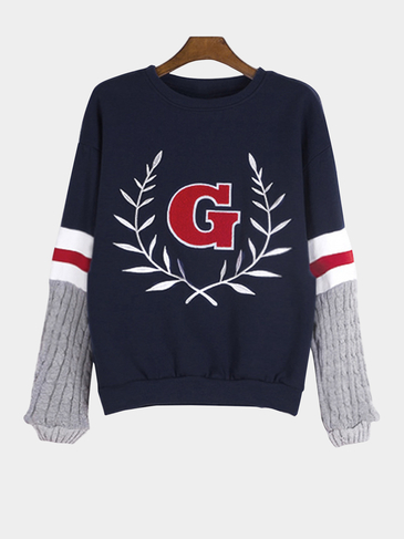 Navy Embroidery Pattern Patchwork Design Sweatshirt