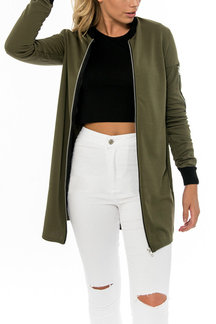 Army Green Fashion Stand Collar Jacket