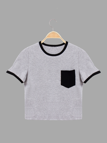 Contrast Round Neck Basic Chest Pocket T-shirt