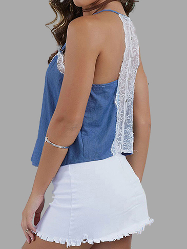 Blue Sexy Sheer Lace Detail V Neckline Spaghetti Strap Denim Top