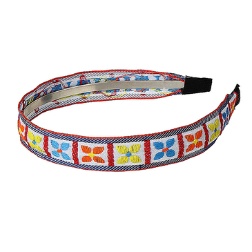 Clover Ethnic Embroidered Headband in White