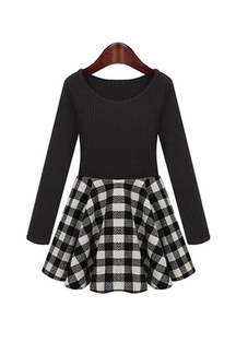 Plus Size Check Dress with Long Sleeves