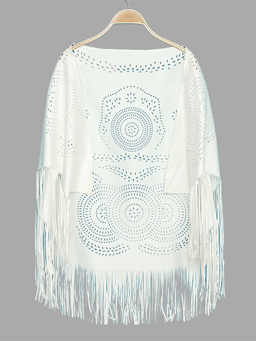 White Vintage Pattern Bohemia Cape With Tassel Trims