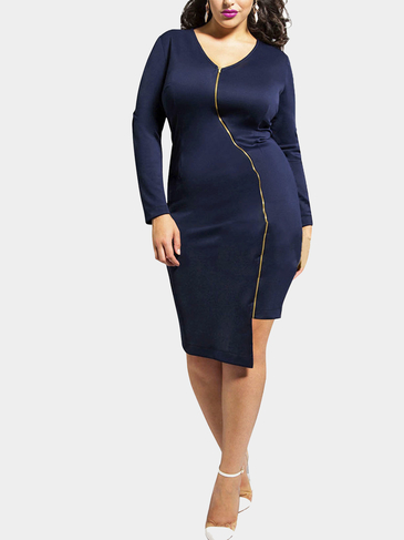 Plus Size Navy Zipper Irregular Dress