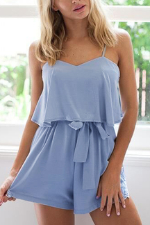 Sleeveless Adjustable Straps Playsuit with Self-tie Belt