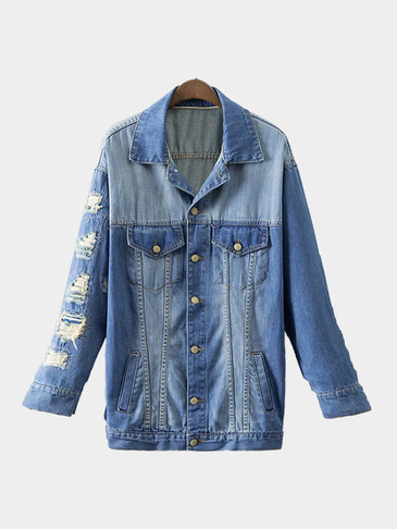 Blue Fashion Rips Details Loose Denim Jacket