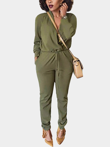 Green Casual V-neck Long Sleeves Cross Front Jumpsuit With Pocket