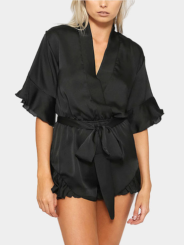 Black Bell Sleeve Belted Playsuit